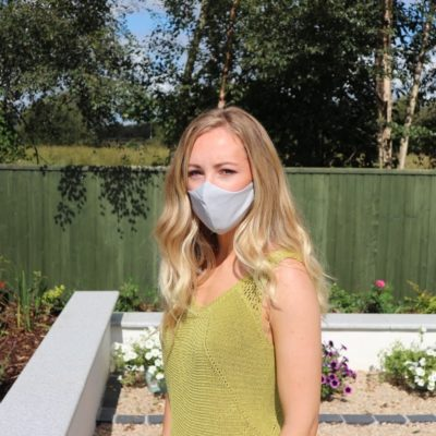 Reusable Face Mask Handmade in Ireland Light Grey print